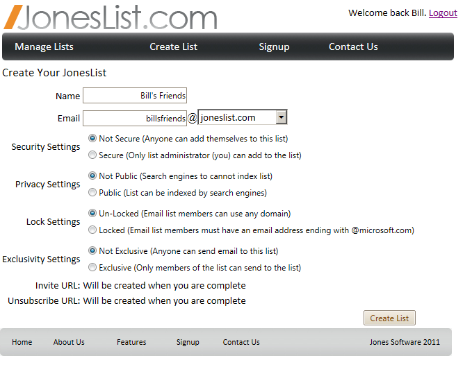 How to setup a joneslist